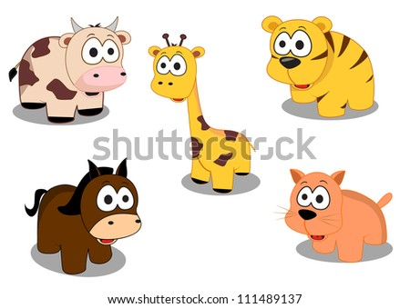 cute animals consisting of tigers, giraffes, horses, cats and cows - stock vector