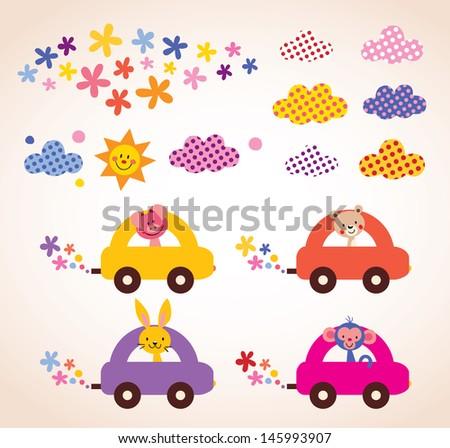 cute animals driving cars kids stuff design elements set - stock vector