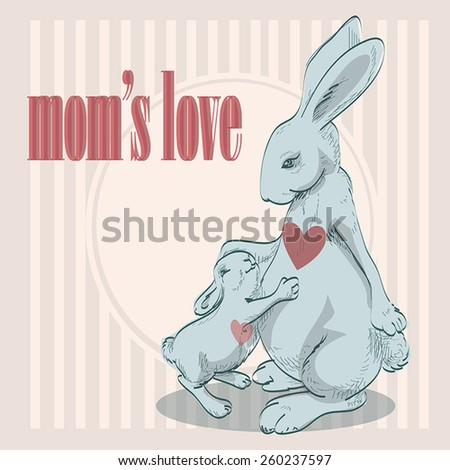 Cute animals family with mom and baby. - stock vector