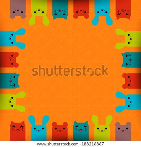 Cute animals frame, decorative card template with place for text - stock vector
