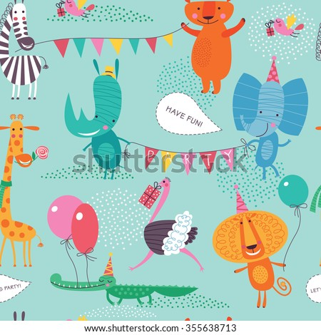 Cute animals have a party. Cartoon seamless pattern on a blue-green background for childish design. Seamless pattern can be used for backgrounds, surface textures, wallpapers, pattern fills. - stock vector