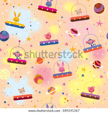 cute animals in space ships kids pattern - stock vector