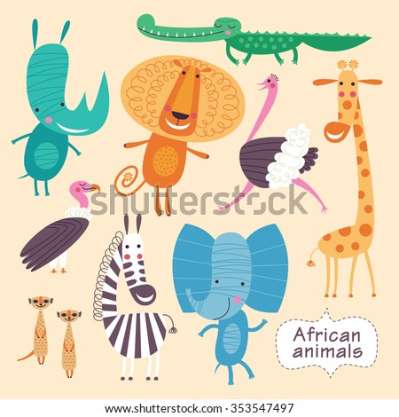 Cute animals of Africa. Childish vector illustration of elephant, crocodile, lion, ostrich, giraffe, zebra, giraffe, meerkats, vulture, and rhino. - stock vector