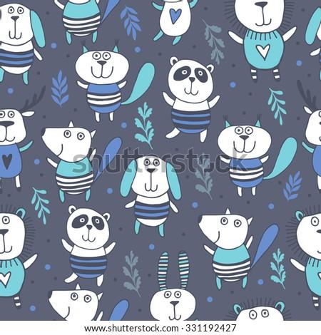 Cute animals seamless pattern.Kids dark background.Zoo - stock vector