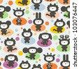 Cute animals seamless pattern. Vector textured illustration. - stock vector