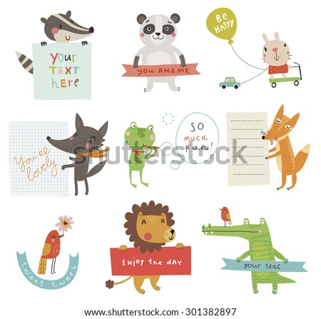 Cute animals set - stock vector