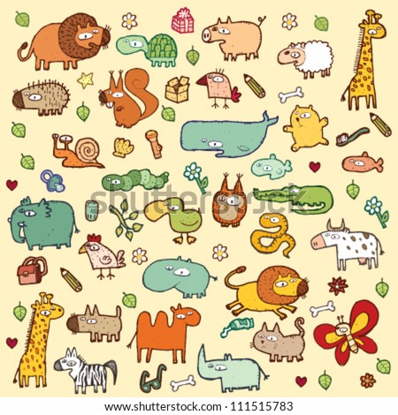 Cute Animals SET XL in colors - stock vector