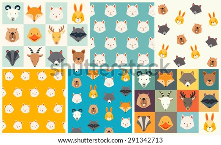 Cute animals vector pattern set, illustrations on colored background. - stock vector