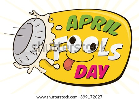 Cute April Fools' sign commemorating pieing prank! - stock vector