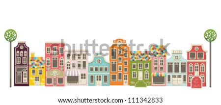 Cute architectural background. Vector cityscape - stock vector