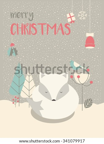 Cute Arctic Christmas sleepy baby fox surrounded with floral decoration, vector illustration - stock vector