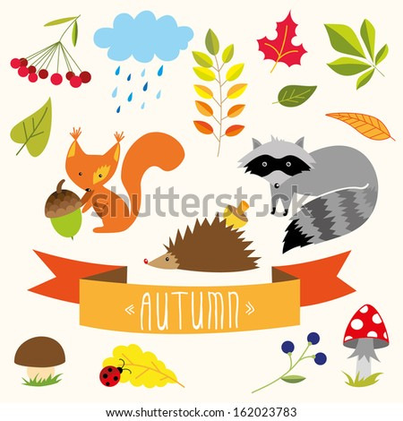 cute autumn elements - stock vector