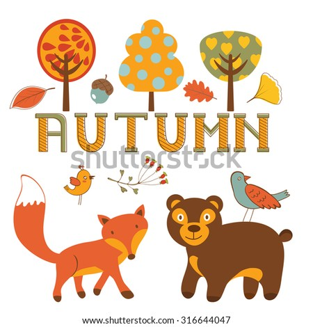 Cute autumn set with woodland creatures birds and trees. Vector illustration - stock vector