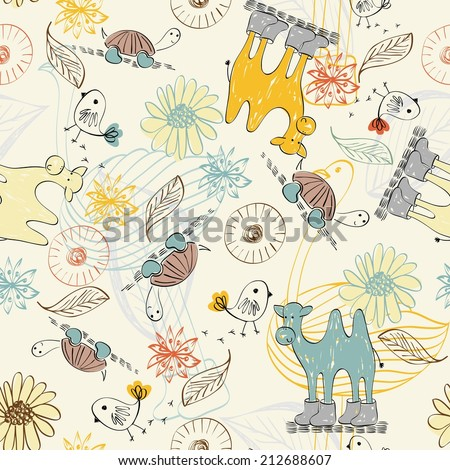Cute babies doodle seamless pattern. Pastel background. - stock vector