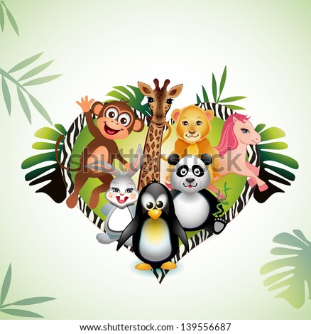 Cute baby animals - stock vector