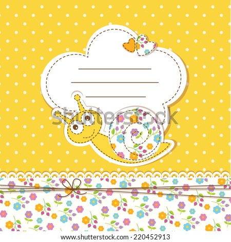 Cute baby background with funny snail - stock vector