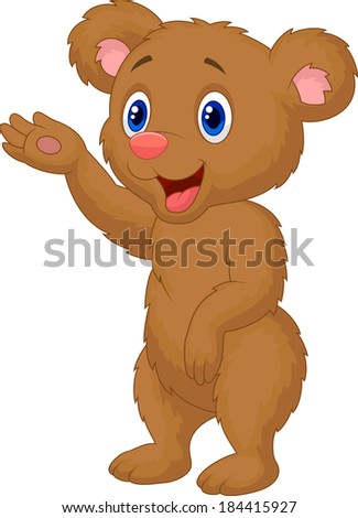 Cute baby bear waving hand - stock vector