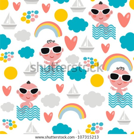 Cute  baby boy on vacation seamless pattern. Vector texture of summer time. - stock vector