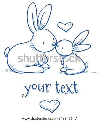 Cute baby bunny and adult kissing, hugging, happy, for easter or baby shower card. Hand drawn line art vector illustration. - stock vector