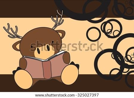 cute baby deer reading cartoon in vector format very easy to edit - stock vector