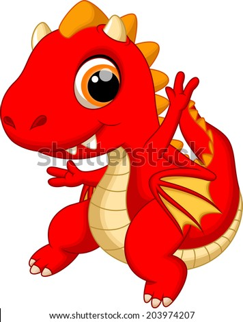 Cute baby dragon dancing cartoon - stock vector