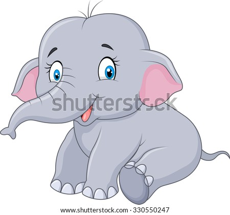 Cute baby elephant sitting isolated on white background - stock vector