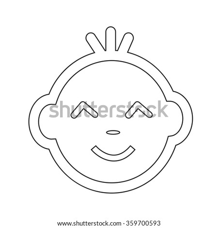 Cute Baby Face Emotion Icon Illustration symbol design - stock vector