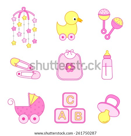Cute baby girl icon / accessories collection including bib, carriage, safety pins, pacifier, feeding bottle, mobile, duck isolated on white background. - stock vector