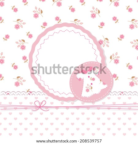 Cute baby girl shower with dress - stock vector