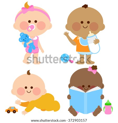 Cute baby girls and boys. Vector cute baby girls and boys playing, drinking milk, crawling and looking at a book.  - stock vector