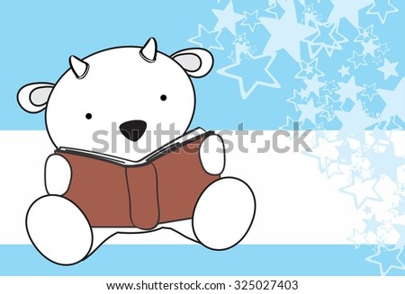 cute baby goat reading cartoon in vector format very easy to edit - stock vector