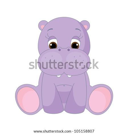Cute Baby Hippopotamus Sitting