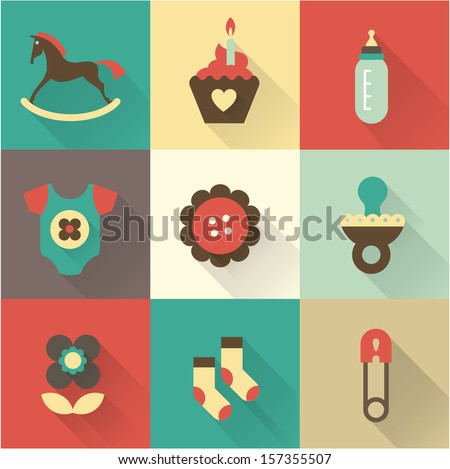 Cute baby icons for postcards, charts, invitations or scrapbooks - stock vector