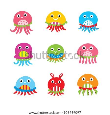 cute baby jellyfish - stock vector