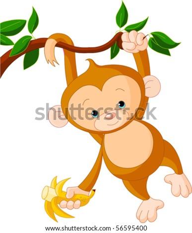 Cute baby monkey on a tree holding banana - stock vector