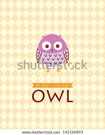 cute baby owl poster - stock vector