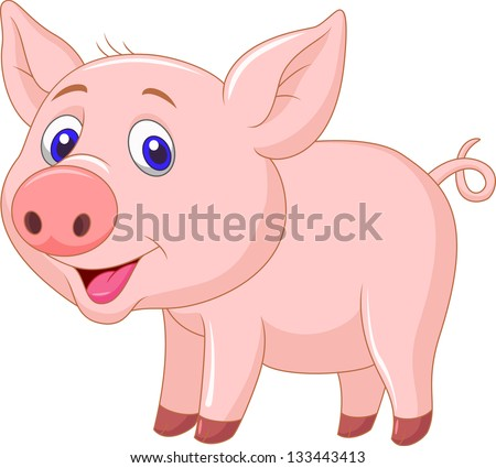Cute Pig Logo Cute Baby Pig Cartoon Stock