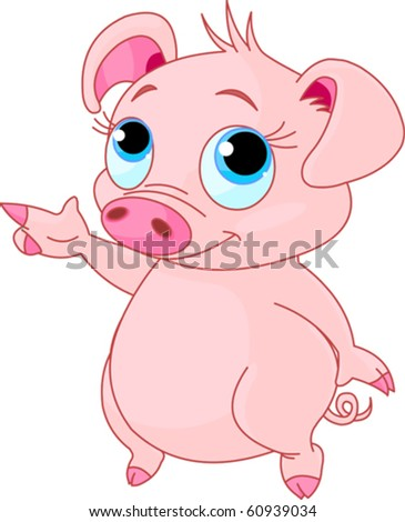 Cute baby piglet pointing (showing, presenting) - stock vector