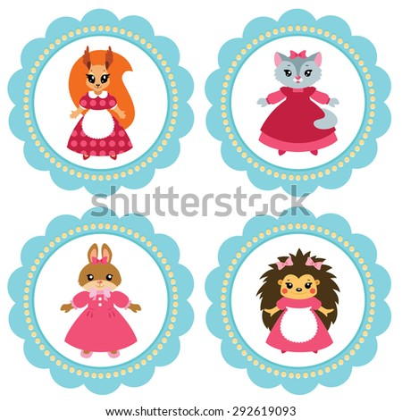 Cute baby retro-styled labels with fairytale animals: hedgehog girl, squirrel girl, bunny girl and kitty. Vector illustration. - stock vector