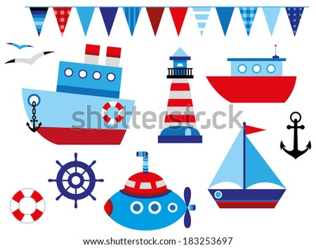 cute baby's sea transport collection - stock vector