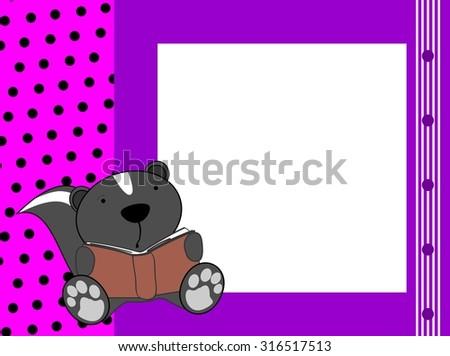 cute baby skunk reading background in vector format - stock vector