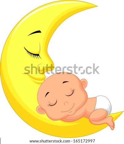 Cute baby sleeping on the moon - stock vector