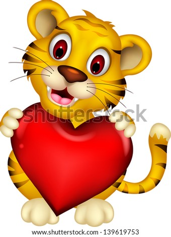 cute baby tiger posing with heart love - stock vector