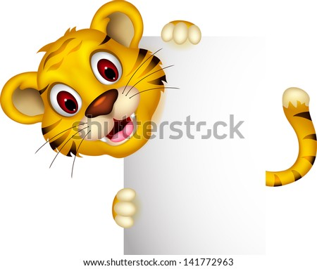 cute baby tiger posing with sign - stock vector