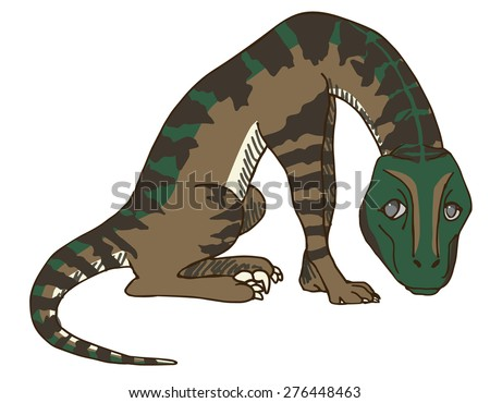 Cute Baby Velociraptor or Raptor Dinosaur Feeling Regretful after Destroying His Master's Stuff. He Feels Bad Now, but You Better Watch Out or this Scary Raptor will Getcha! Run for your Life! Hide!  - stock vector