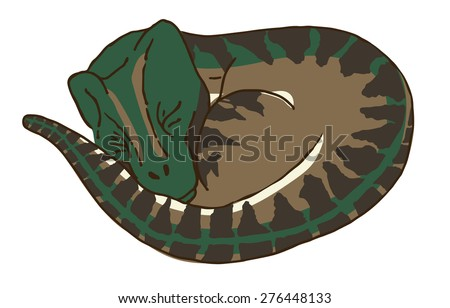 Cute Baby Velociraptor or Raptor Dinosaur Sleeping after Stalking his Prey.  He is So Tired Now, but You Better Watch Out or this Scary Raptor will Getcha! Run for your Life! Hide! Defend Yourself!!  - stock vector