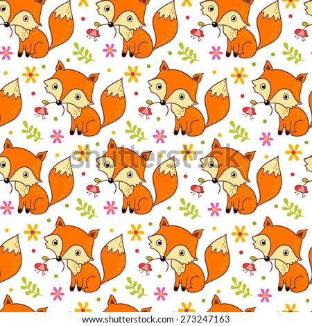 Cute background with cartoon fox and  flowers.  Childish vector background. Seamless pattern can be used for wallpapers, pattern fills, web page backgrounds, surface textures. - stock vector