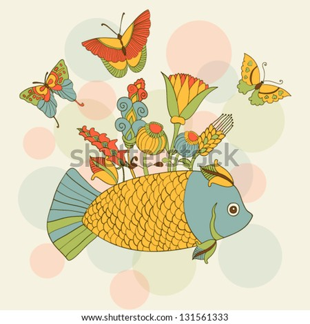 Cute background with funky fish, flowers and butterflies.  Vector illustration - stock vector