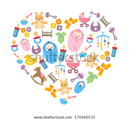 Cute Background With Happy Babies And Toys - stock vector