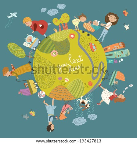 Cute background with mothers and children - stock vector
